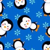 Invierno inconsútil del modelo de los pingüinos Foto de archivo libre de regalías