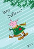 Invierno, la Navidad, cerdo patinador stock de ilustración
