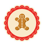 Invierno Lacy Label Icon de la Navidad con el hombre de pan de jengibre en aislante stock de ilustración