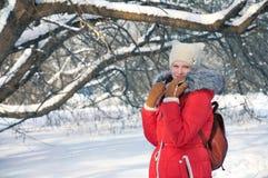 Invierno, muchacha que camina en el parque Imagenes de archivo