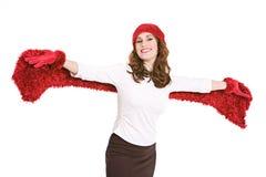 Invierno: Mujer emocionada con los brazos extendidos Foto de archivo libre de regalías