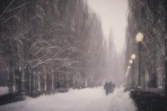 Invierno Nevadas en la ciudad Imágenes de archivo libres de regalías