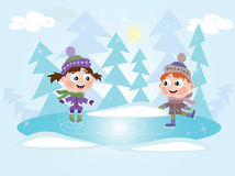 Invierno: Niña y muchacho del patinaje de hielo Imagen de archivo