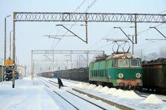 Invierno pesado en el ferrocarril Imagen de archivo libre de regalías