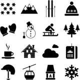 Invierno/pictogramas alpestres/del esquí ilustración del vector