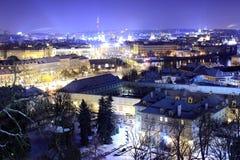 Invierno Praga por noche Foto de archivo