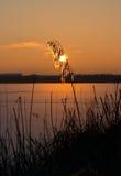 Invierno, puesta del sol en el lago Imagenes de archivo