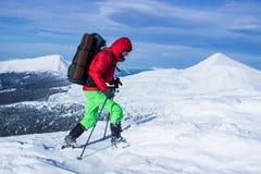 Invierno que camina en las montañas Imágenes de archivo libres de regalías