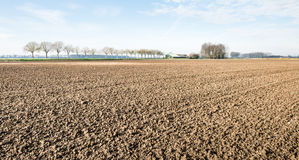 Invierno que espera arado y cultivado del suelo de arcilla para Fotos de archivo libres de regalías
