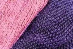 Invierno que hace punto el fondo de lana de la textura Hor hecho punto colorido Imagen de archivo libre de regalías