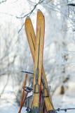 Invierno Ski Tips del vintage Fotos de archivo