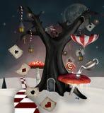 Invierno surrealista en el país de las maravillas libre illustration