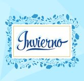 Invierno, Winter spanish text, vector lettering design royalty free illustration