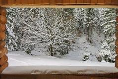 Invierno y marco de madera Nieve fresca Fotografía de archivo
