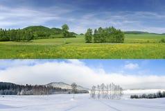 Invierno y verano Imagenes de archivo