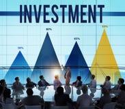 Invierta el concepto de renta de los ingresos del fondo de inversión fotos de archivo
