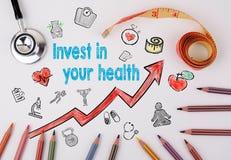 Invierta en su concepto de la salud Fondo de la forma de vida de Healty stock de ilustración