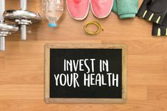Invierta en su concepto sano de la forma de vida de la salud con dieta y el fi Foto de archivo