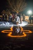 Invigningen av dopfuntnatten den kristna festmåltiden av epiphanyen i den Kaluga regionen av Ryssland Royaltyfria Foton