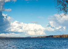Invigorating clouds in the winter sky over Delaware River Royalty Free Stock Image