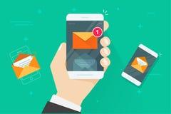 Invii con la posta elettronica l'illustrazione di vettore di notifiche del telefono cellulare, smartphone piano del fumetto con i Immagine Stock