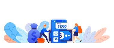 Invii facilmente, risparmi e trasferisca i soldi con l'applicazione mobile prestito di transazione commerciale con un'illustrazio royalty illustrazione gratis