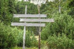 Invii il segno con gli alberi verdi alpini nel fondo Fotografia Stock Libera da Diritti