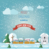 Invintation卡片圣诞快乐和愉快在圣诞节市场上, 库存图片