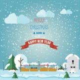 Invintation card Merry Christmas and happy on Christmas market,. Fair. Flat style vector illustration