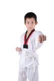 Invio del ragazzo del Taekwondo dell'asiatico sul bianco immagine stock