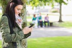 Invio di messaggi di testo della studentessa di college con gli studenti vaghi in parco fotografie stock