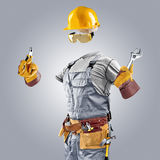 Invisible builder with wrench and pliers Royalty Free Stock Images