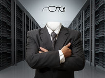Invisible business man. Concept in server room Royalty Free Stock Photography