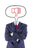 Invisible businessman head say thumb down Royalty Free Stock Image