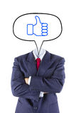 Invisible businessman head say thumb up Stock Images