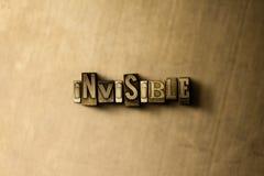 INVISIBLE - el primer del vintage sucio compuso tipo de palabra en el contexto del metal Imágenes de archivo libres de regalías