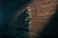 Invisible girl. Standing near brick wall with dollar bills, 3D Rendering Royalty Free Stock Photography