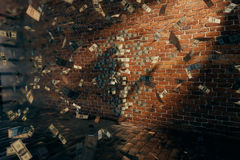 Invisible girl standing near brick wall Stock Images
