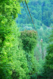 Invisible green nature. Cable way with greenness scenery, Sigulda, Latvia Stock Photos