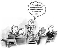 Invisible Ink. Business cartoon about a HR manager who wrote the Employee Benefits Manual in invisible ink Stock Photography