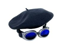 Invisible man. Goggles worn as a fashion accessory and to protect the eyes and a beret to blend in with a crowd-Path included royalty free stock images