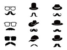 Invisible man with mustache ,glasses and hats. Collection of Invisible man with mustache ,glasses and hats on white background Stock Images