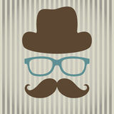 Invisible man. Vector illustration of an abstract man with glasses, hat and mustache stock illustration