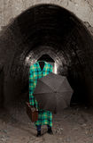 Invisible man with vintage umbrella Stock Images