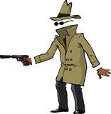 Invisible spy. With a gun illustration Stock Image