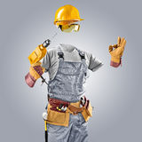 Invisible worker in helmet with drill Stock Image