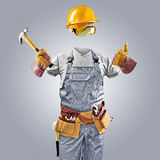 Invisible worker in helmet with hammer Stock Image