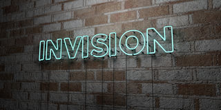 INVISION - Glowing Neon Sign on stonework wall - 3D rendered royalty free stock illustration Royalty Free Stock Image