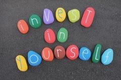 Invista no senhor mesmo Motivação do negócio e conceito de marcagem com ferro quente pessoal Imagens de Stock