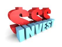 INVISTA a palavra do conceito com símbolos de moeda vermelhos do dólar Foto de Stock